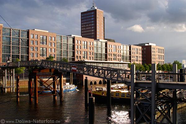 Hamburg binnenhafen moderne architektur an kehrwieder foto for Moderne architektur hamburg