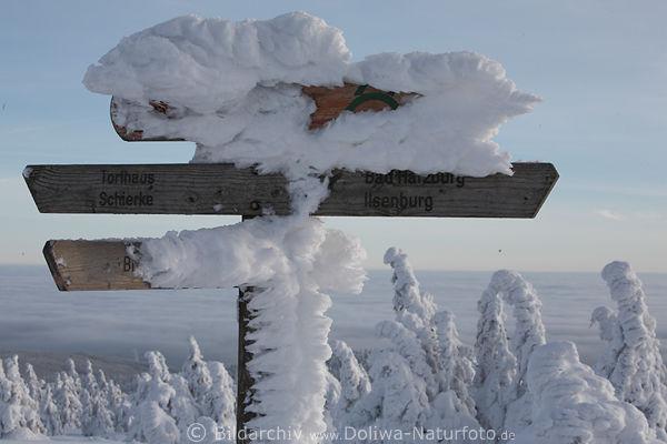 Harzer Wander Wegweiser Beklebt Mit Schnee Eis In Natur
