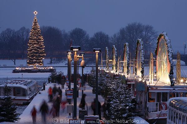 schiffe promenade winterbilder hamburg alster christbaum in schnee am jungfernstieg. Black Bedroom Furniture Sets. Home Design Ideas