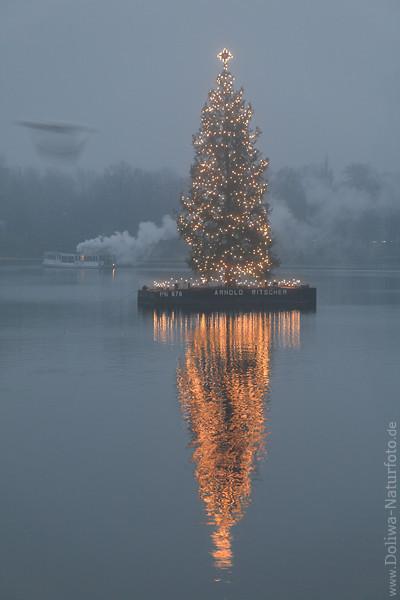christbaum foto auf alster tannenbaum weihnachtsbaum schiff der alsterflotte in nebel ber. Black Bedroom Furniture Sets. Home Design Ideas