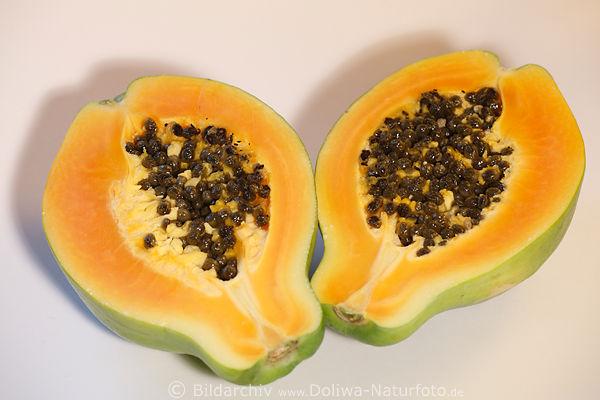 papaya querschnitt foto halbe frucht k rner auf teller. Black Bedroom Furniture Sets. Home Design Ideas