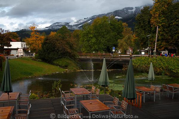 Kurhaus fiskina terrasse am teich mit bergblick im for Teich mit fischen