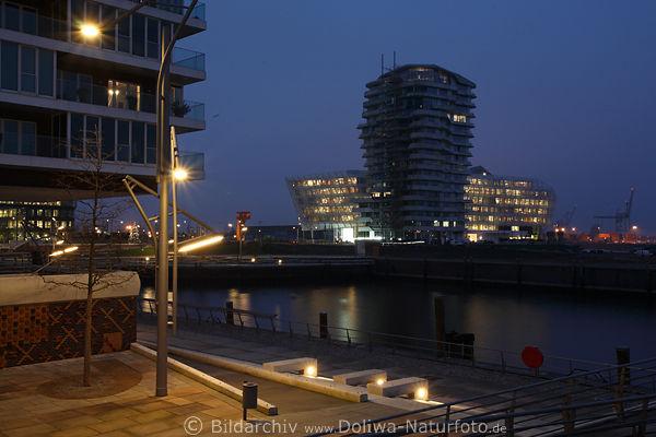 marco polo tower in grasbrookhafen an h benerkai in hamburg hafencity nachtlichter foto an elbe. Black Bedroom Furniture Sets. Home Design Ideas