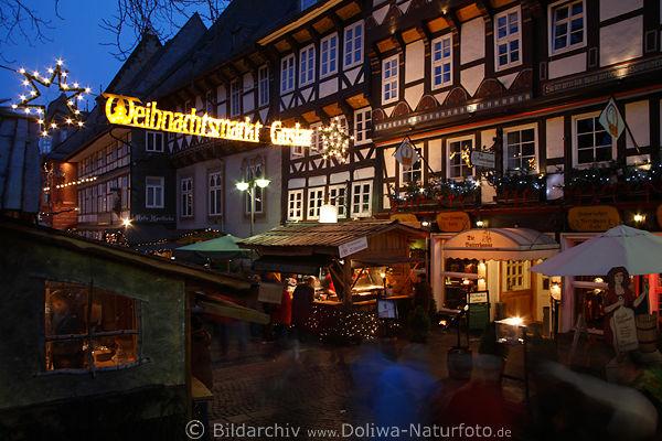 weihnachtsmarkt goslar in marktstrasse foto. Black Bedroom Furniture Sets. Home Design Ideas