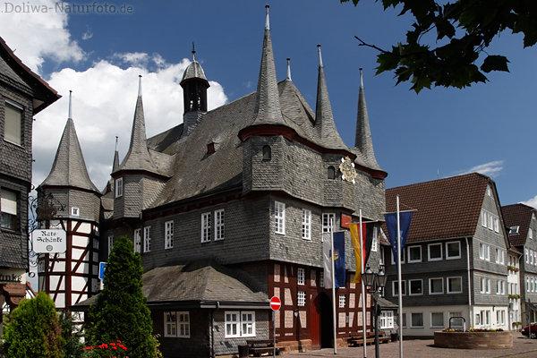 Frankenberg Wahrzeichen Foto: historisches Rathaus, zehntürmiges ...