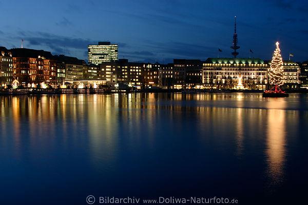 Weihnachtsbilder Hamburg.Hamburg Weihnachtliche Skyline Foto Romantische Alsterpanorama Am