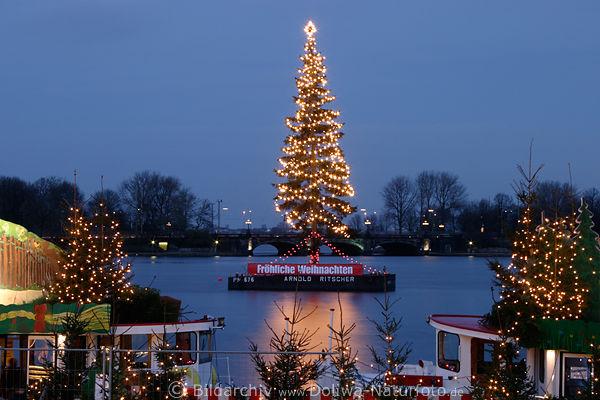 Hamburg Tannenbaum.Weihnachtsbaum In Alsterwasser Foto Tannenbaum Lichter In Hamburg