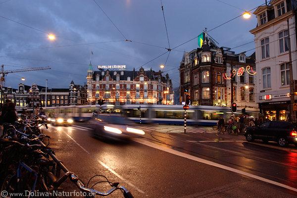 Amsterdam Romantische Stra Enlichter Foto Cityverkehr In