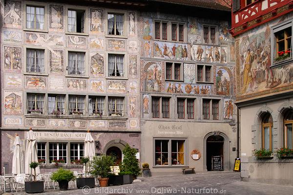 fresken geschichten an rathausplatz w nden stein am rhein historische altstadt in schweiz. Black Bedroom Furniture Sets. Home Design Ideas